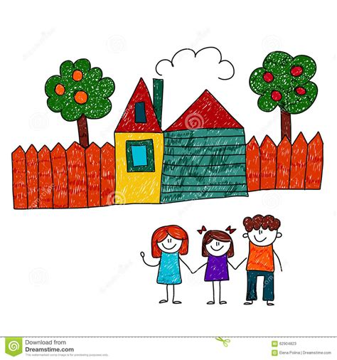 vector image of happy family with house and garden stock