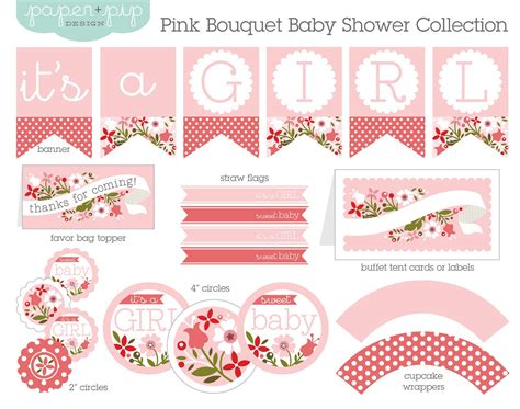 Free Baby Shower Printable - baby shower decorations printable pink bouquet by paperandpip