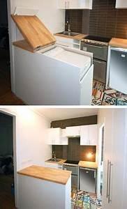 Petit Lave Linge Pour Studio : meuble malin pour cacher le lave linge buenderie lave ~ Carolinahurricanesstore.com Idées de Décoration