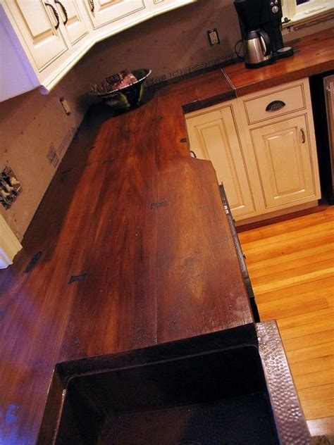 concrete countertop cast on a wood plank mold and