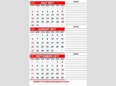JulyAugustSeptember 2017 months printable calendar