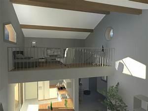 plan de maison avec mezzanine chaioscom With plan maison avec mezzanine