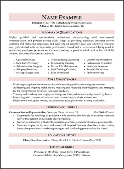 Professional Resume Help by 10 Resume Sles Customer Service Riez Sle