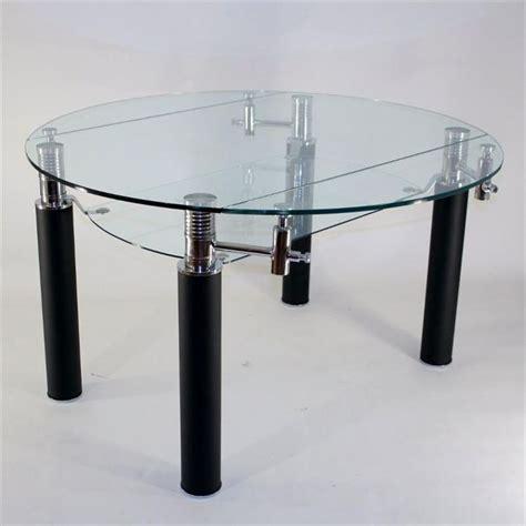 table en verre ronde 224 rallonge extensible nero achat vente table 224 manger seule table en