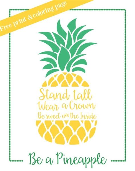 pineapple inspirational print  coloring page capturing joy  kristen duke