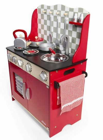 Tidlo Kitchen Station Retro Red With Accessories   The Toy