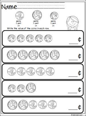 free coin counting math worksheet students practice