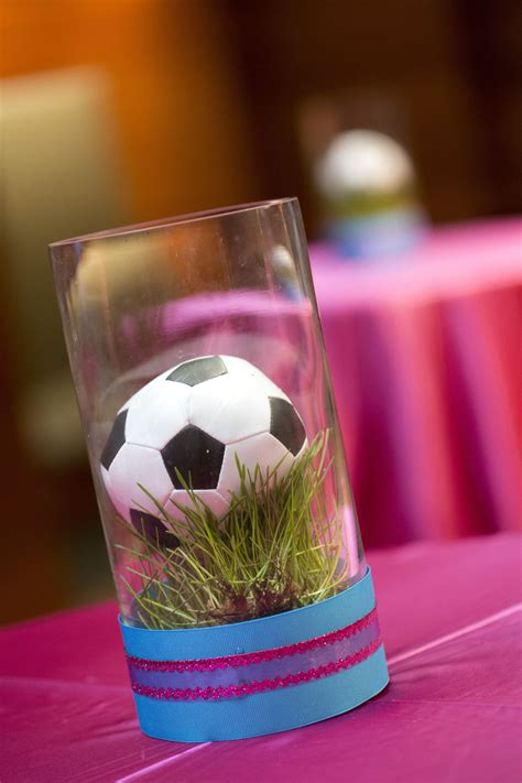 soccer centerpiece cocktail decor grass bat mitzvah