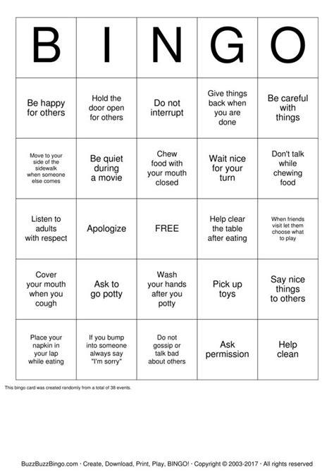 manners bingo cards   print  customize