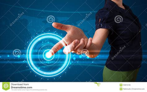 Woman Pressing High Tech Type Of Modern Buttons Royalty