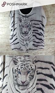 4/$25!! Womens White Tiger Blouse Top | Women, White tiger ...