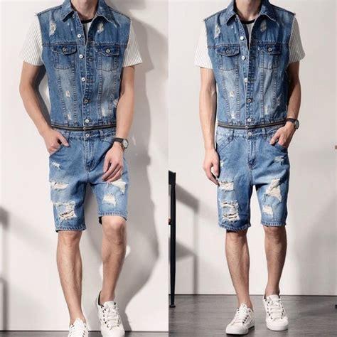 mens denim jumpsuit mens denim ripped overalls vests rompers detachable