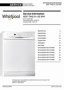 Whirlpool Adp 7442 A  6s Wh Dishwasher Service Manual
