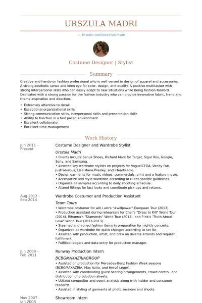 Wardrobe Stylist Resume costume designer wardrobe stylist resume exle p p