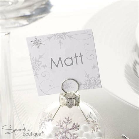 christmas baubles name holders snowflake place name cards for wedding use with bauble holders ebay