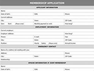 membership application form application for membership form With social club membership application form template