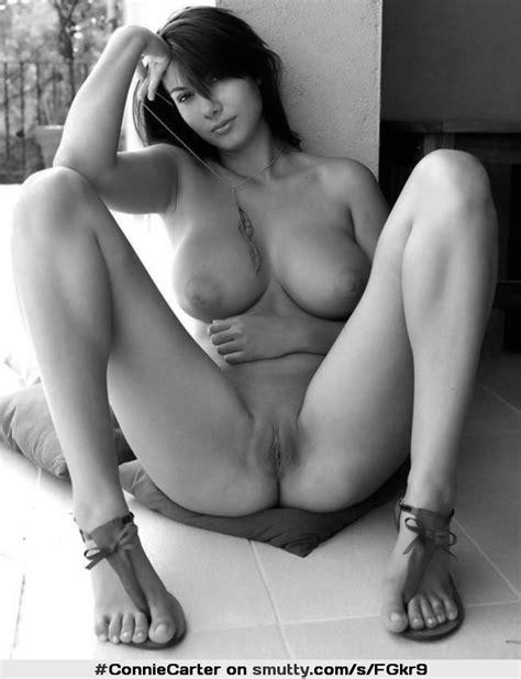 Brunette Eyecontact BlackAndWhite Nipples Boobs Breasts