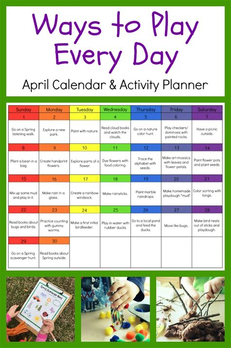 ways to play every day april activity calendar for 667 | april preschool activity calendar
