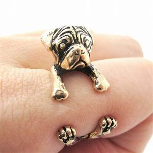 3d pug dog puppy animal wrap ring in shiny gold sizes 4 to 8 5