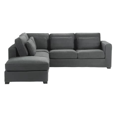 canapé d 39 angle 5 places en coton gris ardoise