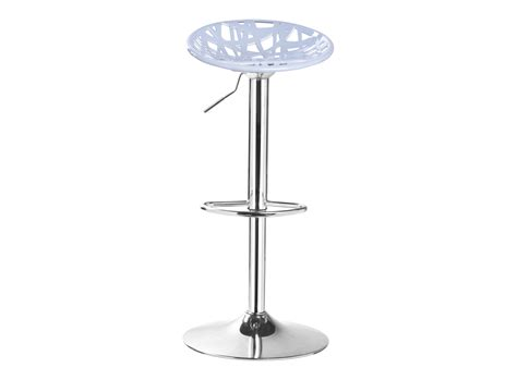 tabouret de bar assise grise pieds chrome table chaise meuble fly