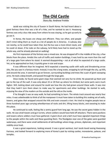 Worksheets Reading Comprehension Worksheets Grade 8 Opossumsoft Worksheets And Printables