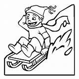 Coloring Pages Winter Sled Sledding Kid Season Colouring Drawing Happy Slidding Printable Boy Sketch Sheets Toboggan Template Sleds Clipartmag Luna sketch template