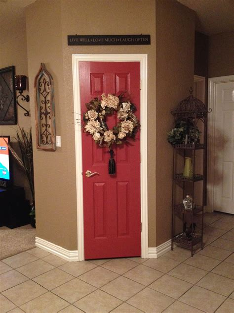 kitchen pantry door painted a beautiful red called salute