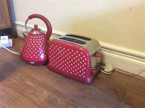 polka dot toaster and kettle with white polka dot kettle and toaster in norwich