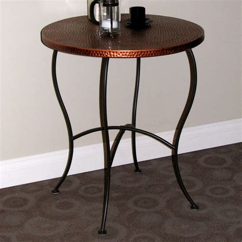 hammered metal  table powder coated brown copper