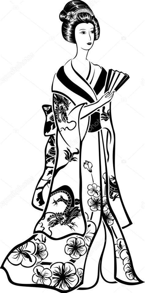 Geisha in traditional costume — Stock Vector
