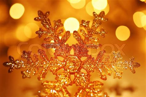 snowflake background golden christmas stock photo