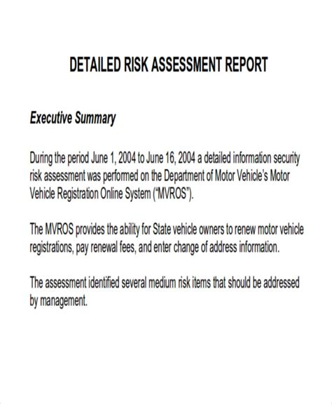 assessment report format samples docs word pages