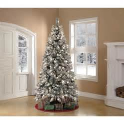 holiday time pre lit 7 5 winter frost pine artificial christmas tree green clear lights