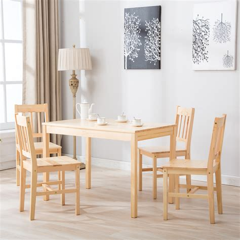 pcs pine wood dining table  chairs dining table set