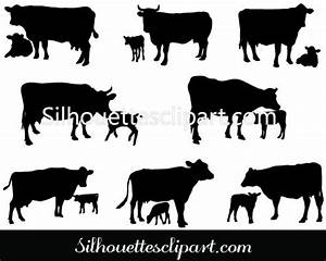Cow And Calf Vector Silhouette Animal Vector Graphics