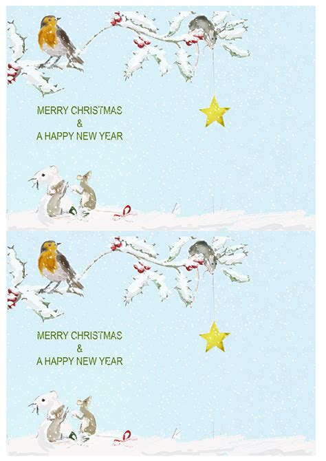 merry christmas inserts robin in the snow two bad mice