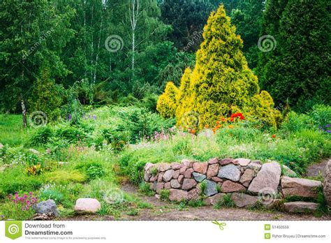 small flower bed trees garden landscaping design flower bed green trees stock photo image 51450559