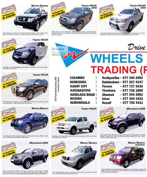 Wheels Lanka Nissan, Toyota, Mitsubishi & Land Rover Price
