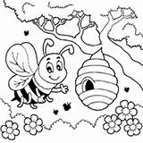 Bee Coloring Honey Bees Surfnetkids Printable Sheets Queen Buzzing Spring Beehives Colouring Hive Preschoolers Flower Worksheets Cartoon Pollen Bugs Collecting sketch template