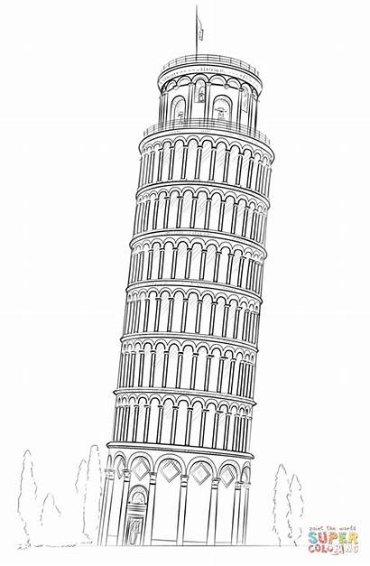 Pisa Tower Coloring Drawing Leaning Pages Sketch