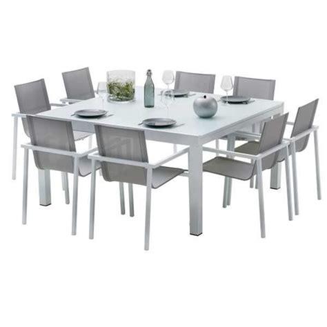 Salon De Jardin Table Et Chaises Ensemble Table Et Chaises De Jardin Extensibles Carre Whitestar 8 Places Achat Vente Salon