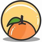 Icon Orange Fruit Nutrition Health Button Citrus