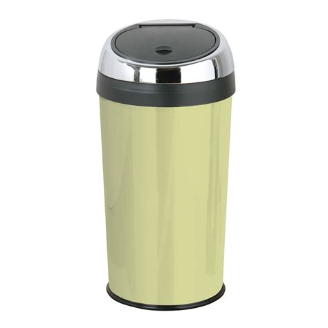 green kitchen bins 30 litre touch top trash kitchen bin enamel stainless 1387