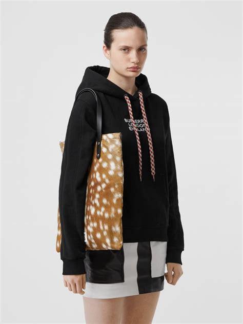 deer print nylon tote bag  black women burberry united states