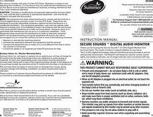 Summer Infant 02300 Baby Monitor User Manual 02330 Ib