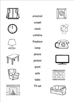living room vocabulary  kids learning english
