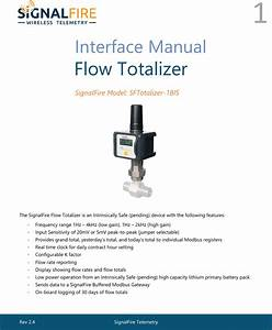 Signalfire Telemetry Ft Flow Totalizer User Manual Rev 2 4