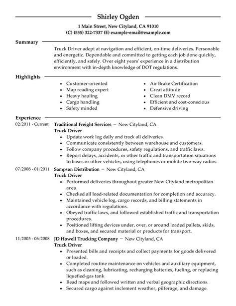 Truck Driver Resume Summary by Best Truck Driver Resume Exle Livecareer