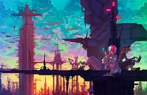 Anime, Girls, Anime, Fantasy, Art, Technology, Cranes, Machine, Airships, Wallpapers, Hd, Desktop